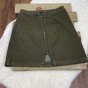 Free People Army Green Front Zip Denim Mini Skirt